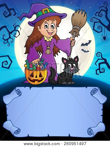 Small Parchment And Cute Witch 1 - Eps10 Vector Picture Illustration.