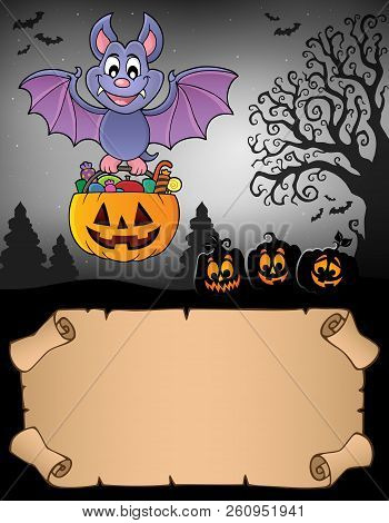 Small Parchment And Halloween Bat 2 - Eps10 Vector Picture Illustration.