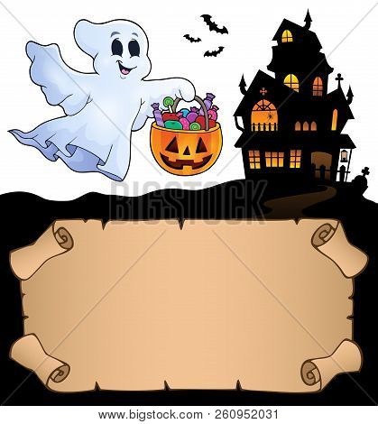 Small Parchment And Halloween Ghost - Eps10 Vector Picture Illustration.