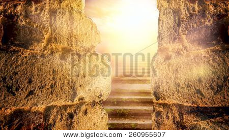 Light At End Of Tunnel In Castle . Staircase Leading To Heaven Or Hell . Religion Background  .