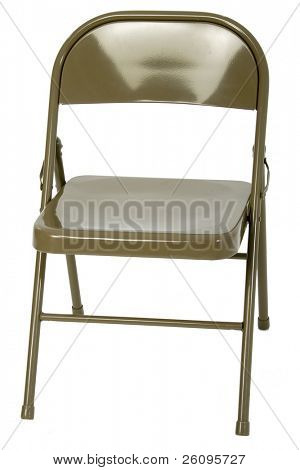 Metal folding chair over white.