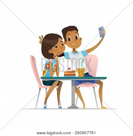 African-american Girl And Boy Meeting At The Cafe A And Taking Selfie. Teenagers Friends At The Rest