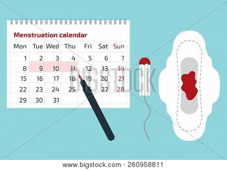 A Calendar With The Menstrual Days Marks And Menstrual Pad With Blood Drop. Vector Illustration Of B