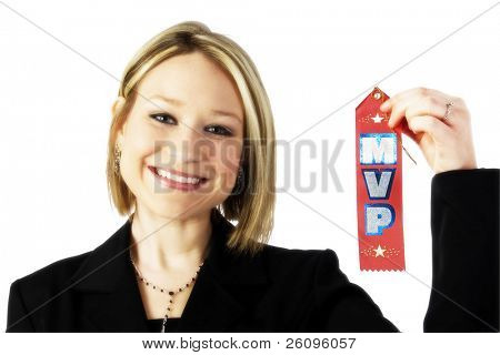 Young business woman with MVP (most valuable player) ribbon.
