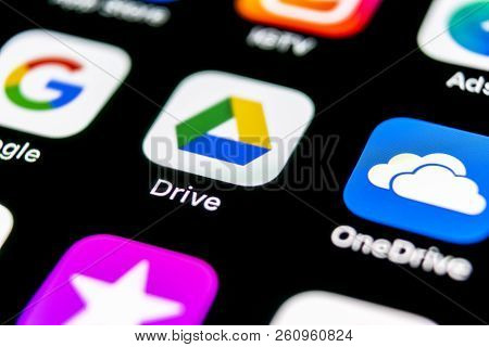 Sankt-petersburg, Russia, September 30, 2018: Google Drive Application Icon On Apple Iphone X Screen