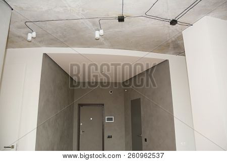 Modern House Lighting Design In The Entrance House Hall With Smart House Technology Near Door.  Ceil