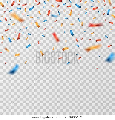 Color Confetti. Falling Confetti Ribbons Isolated. Party Celebration, Carnival Surprise And Fiesta V