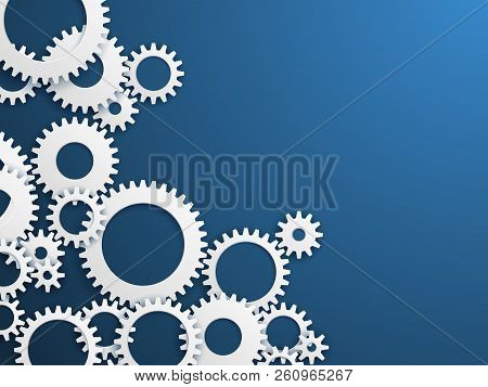 Gears Technology Background. Gear Wheels, Cogwheels Industry Mechanism. Engineering Vector Concept.
