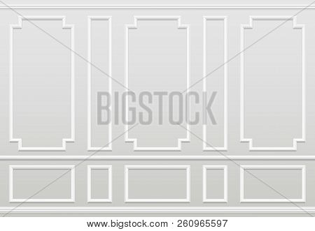 Empty White Wall. Moulding Panels Classic Home Decoration. Living Room Vector Interior. Illustration