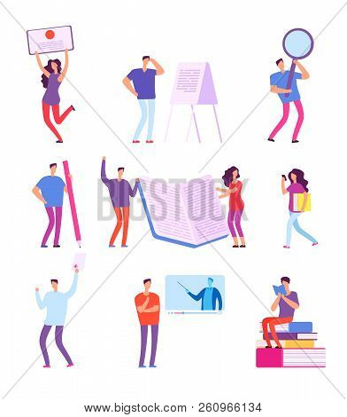 Training People. Education E-learning, Online Course Video Tutorial, Distance Studying Vector Concep