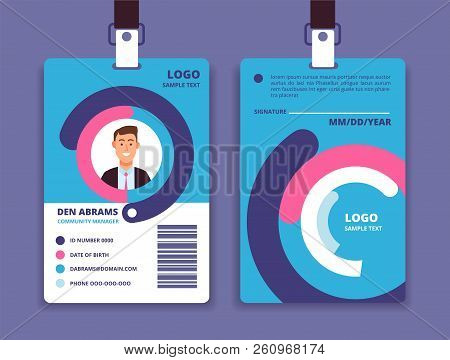 Corporate Id Card. Professional Employee Identity Badge With Man Avatar. Vector Design Template. Id