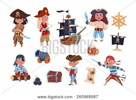 Cartoon Pirates. Funny Pirate Captain And Sailor Characters, Ship Treasure Map Vector Collection. Ca