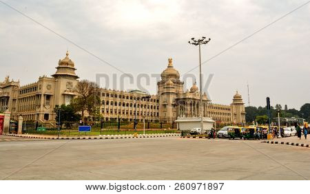 Vehicles Wating Of Traffic Signl In Front Of Vidhana Soudha The State Legislature Building In Bangal