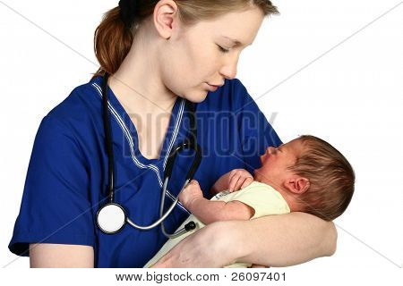 Female nurse consoling a crying newborn baby over white background.