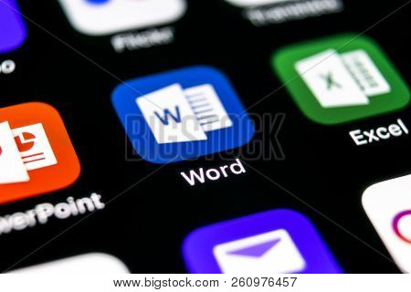 Sankt-petersburg, Russia, September 30, 2018: Microsoft Word Application Icon On Apple Iphone X Scre