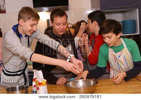 Teenager Kids Team Cooking Having Fun