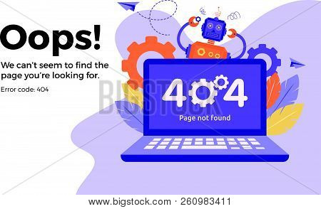 Error 404 Unavailable Web Page. File Not Found. Business Concept Vector Illustration