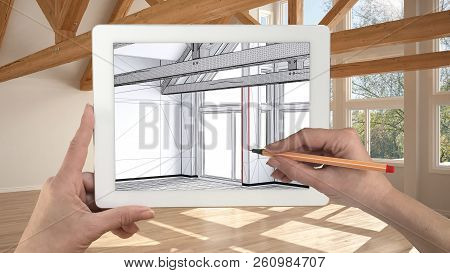 Hands Holding And Drawing On Tablet Showing Modern Empty Interior Sketch. Real Finished Interior Wit