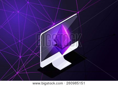 Isometric Holographic Icon, Ethereum Crisis Concept With Ether Symbol, Crypto Currency, Space, New V