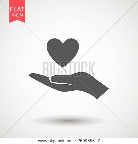Hand Giving Love Symbol. Hand Holding Heart Shape, Vector Icon.