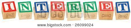 Blocs alphabet coloré l'orthographe du mot INTERNET
