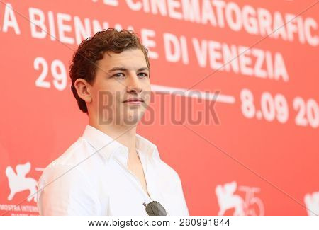 Tye Sheridan attends 'The Mountain' photocall during the 75th Venice Film Festival at Sala Casino on August 30, 2018 in Venice, Italy.