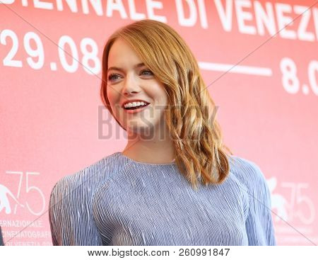 Emma Stone attends 'The Favourite' photocall during the 75th Venice Film Festival at Sala Casino on August 30, 2018 in Venice, Italy.