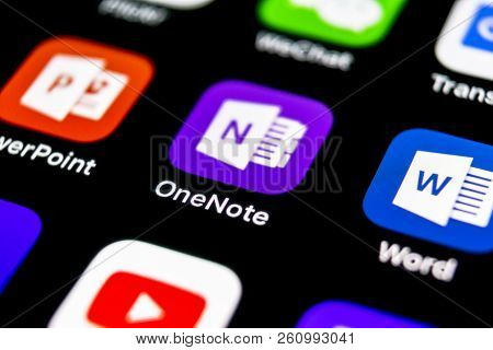Sankt-petersburg, September 30, 2018: Microsoft Onenote Office Application Icon On Apple Iphone X Sc