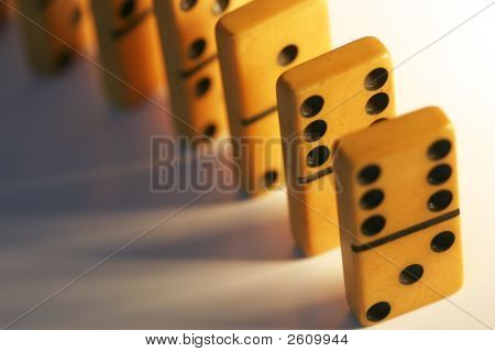 Vintage Dominoes Lined Up