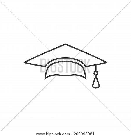 Outline Mortar Board Or Graduation Cap. Educator Graduation Icon, Education Congratulations Vector T