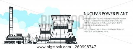 Thermal Power Station Horizontal Banner , Nuclear Plant And Text, Nuclear Reactor And Power Lines, V
