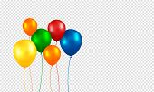 Balloons vector. Realistic Flying Birthday helium balloons. Isolated on transparent background. Party and celebrations decorations. Bunch of Birthday objects. poster