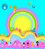 Group of kids playing cars caravan cars and big rainbow in background poster