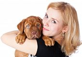 Young girl with puppy of Dogue de Bordeaux (French mastiff). Isolated on white background poster