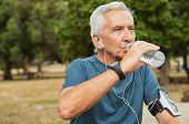 Fit thirsty senior man drinking water before running. Active old man having a break during his jog routine outside. Aged man drinking water while doing fitness in a park. poster