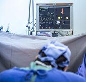 defocused surgical center medical hospital procedure care poster