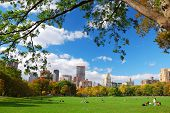 New York City Manhattan skyline panorama viewed from Central Park with cloud and blue sky and people in lawn. poster