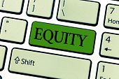 Writing note showing Equity. Business photo showcasing quality of being fair and impartial race free One hand Unity poster