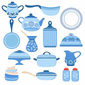Cartoon cookware. Kitchen crockery and glassware. Dishes, cup and teapot. Cooking tools vector isolated set. Illustration of crockery and cookware poster