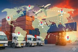 World International Map Connection Connect Network With Blurred Distribution Logistic Cargo Warehous