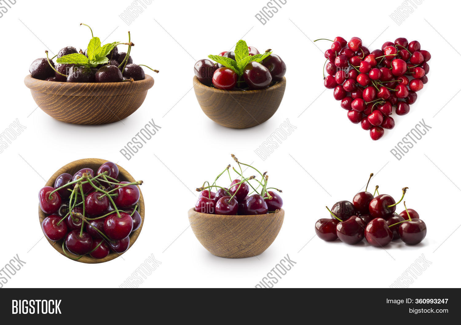 Red Cherries Isolated On White Cutout. Berry With Copy Space For Text. Set Of Cherry From Different
