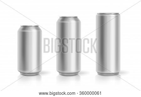 Realistic Aluminum Cans. Soda Drink Containers Set. Lemonade Or Beer Metallic Can Package. Vector Re