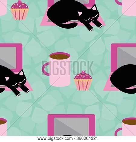 Sleepy Cartoon Cat And Laptop Vector Seamless Pattern Background. Black Kitty Interrupting Business