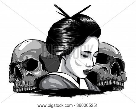 Monochromatic Vector Illustration Of Geisha Skull With Vintage Tattoo Design Style And Japan Traditi