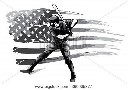 Monochromatic Powerful Baseball Hitter Left Handed Vector Illustration