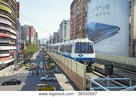 Taipei City, Taiwan, 2012, July,12Th :  Taipei Metro Brown Line