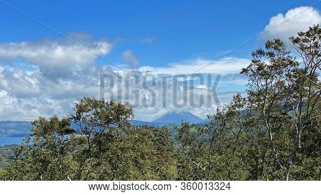 Arenal Volcano With Arenal Lake In Guanacaste, Costa Rica