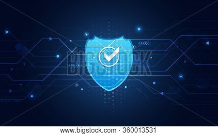 Cyber Security And Data Protection. Shield Icon, Future Technology For Verification. Abstract Circui