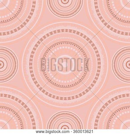 Moroccan Folk Motifs Seamless Pattern. Circle Medallion Mandala Geometric Tiles. Fabric Print Templa
