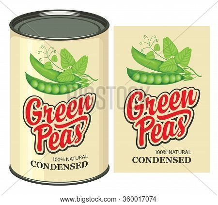 Vector Banner For Canned Green Peas With A Tin Can And A Label. Canned Food During Quarantine, Long-